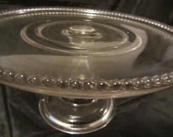 Antique Clear Glass Pedestal Cake Plate/Platter, Serving Dish, Pedestal Cake Stand, Mid Century Pedestal Cake Plate, Raised Cake Dish, Stand