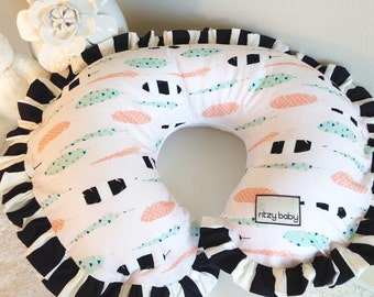 Feathers with White Minky Reverse Nursing Pillow Cover, Nursing Pillow reverses to a Super Soft Minky, In Stock & Ready to Ship