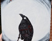 Moon, Night, Bird Art, Crow Painting, Original Acrylic, Canvas, La Luna