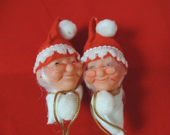Mrs. Claus doll head collection. vintage Christmas pick mixed media / ornament. new old stock.