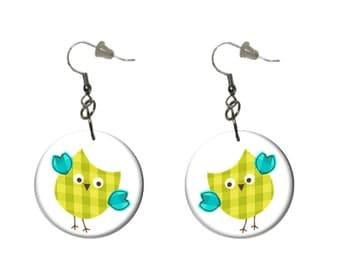 Yellow Green Owl Earrings Blue Wings Owl Dangle Earrings Fun Casual Earrings
