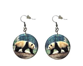 Panda Bear Earrings Walking Panda Button Dangle Earrings