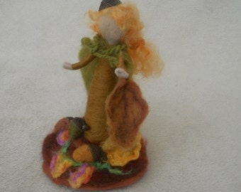 Waldorf needle feltedWoodland Fairy Autumn Fairy Oak Leaf Fairy hand felted fairy yellows browns greens