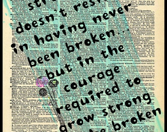 Buy Any 2 Prints Get 1 Free Courage Strength Brokeness Quote  Vintage Dictionary Art