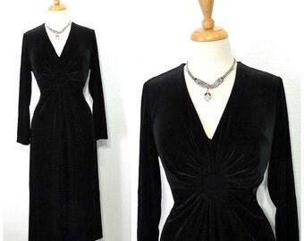 Black Velvet Dress V-neckline Long Sleeve Evening Velvet Gown Large / X Large