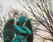 """Angel Cemetery Fine Art Photography """"Watch Over Me"""" white, green, angel, victorian tombs, home decor photograph"""