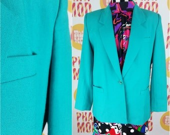 Bright 90s Turquoise Blazer with Pockets! Chic Vintage Business Lady!