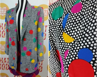 BOLD Blue, Pink, Red & Yellow Confetti Dots 90s Blazer - Very Avant Garde!!