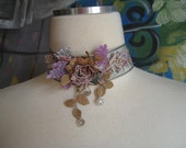 Vintage Floral Lace Floral Jacquard Ribbon Choker Necklace Jewelry