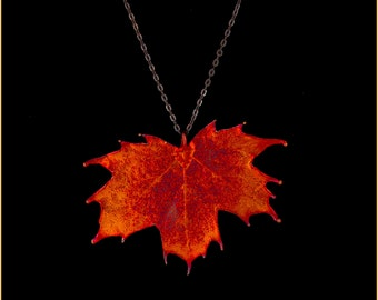 Real Sugar Maple Leaf Dipped In Iridescent Copper Pendant With Pewter Chain - Real Dipped Leaf - In Gift Box