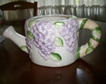 Shabby Chic Watering Can Ceramic  lavender/lilac flowers