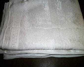 "antique Tablecloth+4 Napkins White Damask  66"" x56""   on Sale Weddings, Bridal Showers, Luncheons"