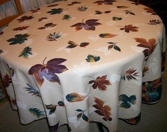 """Autumn Fall tablecloth  round 62""""  Beige w fall leaves Maple Oak leaves"""