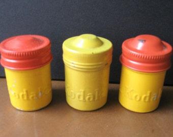 Lot of Three (3) Vintage Tin Kodak Film Canisters