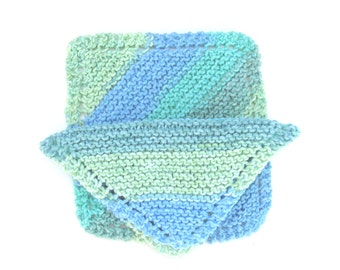 Set of Two (2) Knitted Cotton Dishcloths - Blue/Green Stripes