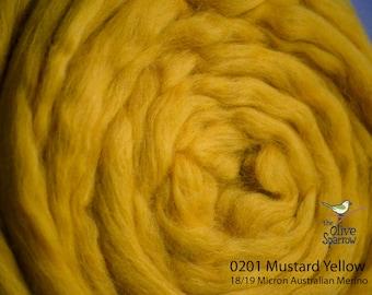 18 Micron Wool Roving - 50 gram bag (1.75 oz) - 201 Mustard Yello