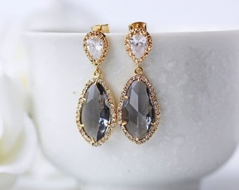 Cubic Zirconia Grey Glass Gold Wedding Earrings LUX Teardrop Modern Statement