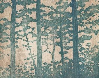 Original Hand Pulled Woodblock Print - OOAK Artist Proof Forest No. 13 Woodblock Print