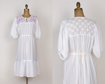 Vintage Mexican Cotton Gauze Dress - 1970s White & Pastel Embroidered Dress with Crochet Lace and Birds - Boho Oaxacan Dress  - Free Size