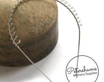 3mm Metal Tiara Headbands With Teeth - Silver Plated