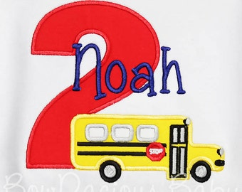 Bus Birthday Shirt, School Bus Birthday Shirt, Custom Bus Birthday Shirt, You Pick Fabrics and Font Ages 1-9 Available