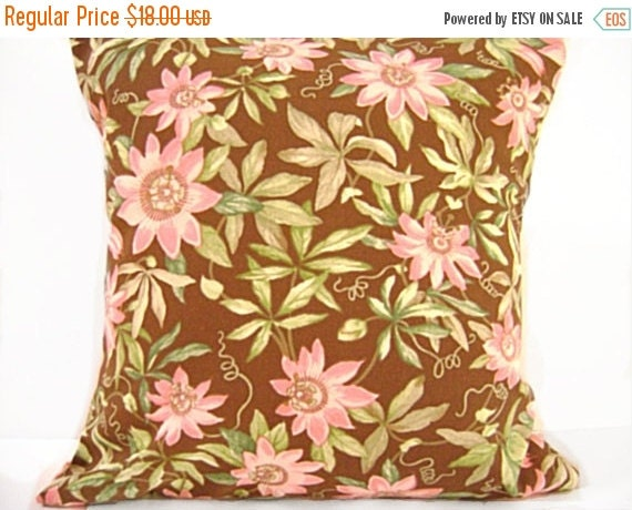 Christmas in July Sale Sale 18.00 Pink Floral Pillow Covers Cushions Brown Green Decorative Pair 18x18
