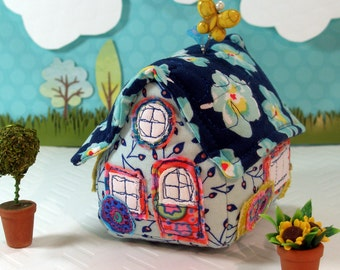 Pincushion Little House Pincushion, Baby Blue, Ready To Ship