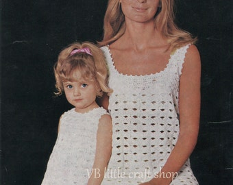 Mothers and daughters dress crochet pattern. Instant PDF download!