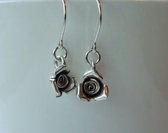 Sterling silver rose earrings, hand forged, sterling silver, womens gift, artisan jewelry, unique design, pretty