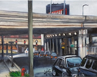 Chicago Plein Air Painting of Bucktown Overpass - 12x9in Original Oil Painting