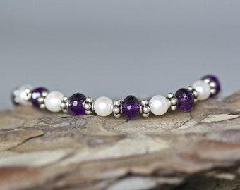 Amethyst Bracelet - Pearl Bracelet - Bali Silver Bracelet - February Birthstone - Amethyst and Pearl - Purple Gemstone - Bridal Jewelry