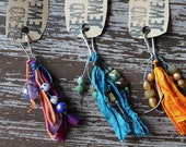Boho Keychain - Purse Pull - Ribbon and Beads Keychain - Rustic Boho Accessories - Zipper Charm - Bead Soup Jewelry