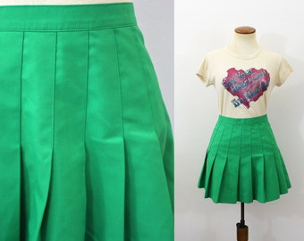 1980s High Waisted Mini Skirt Green Pleated High Rise Flared Knife Pleats Vintage 80s Tennis Retro School Girl Skirt Medium M