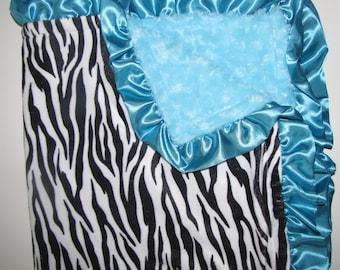 "New Baby nursery receiving blanket girl boy shower gift  30"" satin ruffle edge animal print blue zebra ROSE FUR"