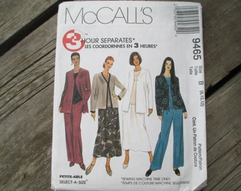 McCall's 9465, Jacket, Top, Pants and Skirt Pattern, Uncut, Sizes 8, 10, 12