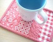 red and white mama said sew revisited mug rug - FREE SHIPPING