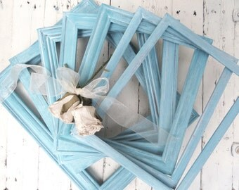Aqua Beach Frames, Farmhouse Decor, Old Frames, Ornate Frames, Chic Cottage Decor, Shabby Wall Decor, Hand Painted Distressed Whitewash Blue