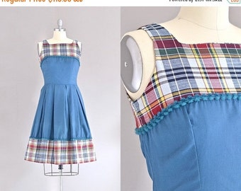 40% OFF SALE... vintage 1950s dress • fit and flare • plaid cotton dress • day 50s dress