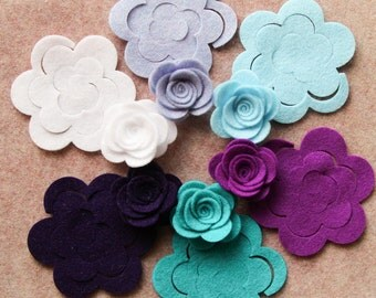 Anna & Elsa - 3D Rolled Roses Medium - 12 Die Cut Felt Flowers - Unassembled Rosettes