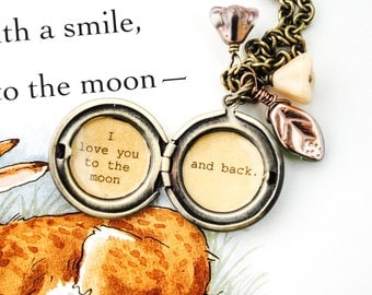 I love you to the moon and back - Women's Locket - in antique brass