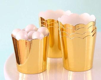 Mini Metallic Gold Baking Cups, Gold Cupcake Cups, Mini Gold Candy Cups, Gold Wedding Favor Cups, Christmas Candy Cups, Mini Treat Cups (24)