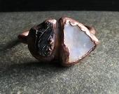 Raw Opal Ring Tourmaline Ring Gemstone Dual Stone Ring Size 8.5 Birthstone Ring October Artisan Handmade