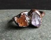 Rough Stone Jewelry Raw Crystal Amethyst Garnet Size 8.5 Ring Dual Stone Size Ring Birthstone Ring Copper Gemstone Ring