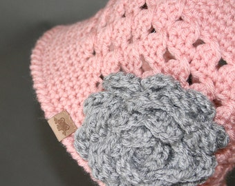 Crochet PATTERN Chloe Cloche with Rose 5 Sizes for Baby, Toddler, Child, Girls and Ladies Crochet Hat Pattern, Crochet Beanie Pattern