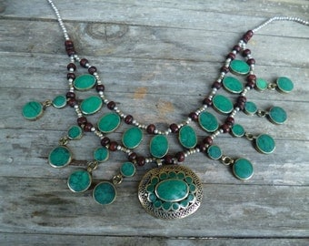 Two Pretty  Afghan Tribal Necklaces. Red and Blue/Green. Hand made.
