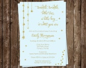 Twinkle Little Star Baby Shower Invitations, Boys, Set of 10 Printed Invites, Free Shipping, TWGBL, Twinkle Star Glitter, Gold & Blue