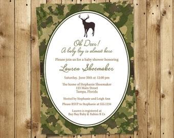 camo baby shower invitations  etsy, Baby shower invitations