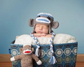 Blue Monkey Hat, Toddler Sock Monkey Hat, Baby Boy Winter Hat, Crochet Earflap Hat, Monkey Earflap Hat, Newborn Hat Prop, Crochet Baby Hats