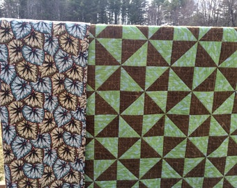 Hand quilted heirloom patchwork queen quilt, king quilt, green brown