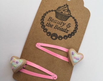 Pair of Novelty polymer girls iced heart cookie pink snappy hair clips
